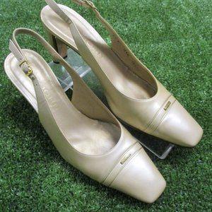 St John Light Gold Leather Heels Shoes 8.5 B